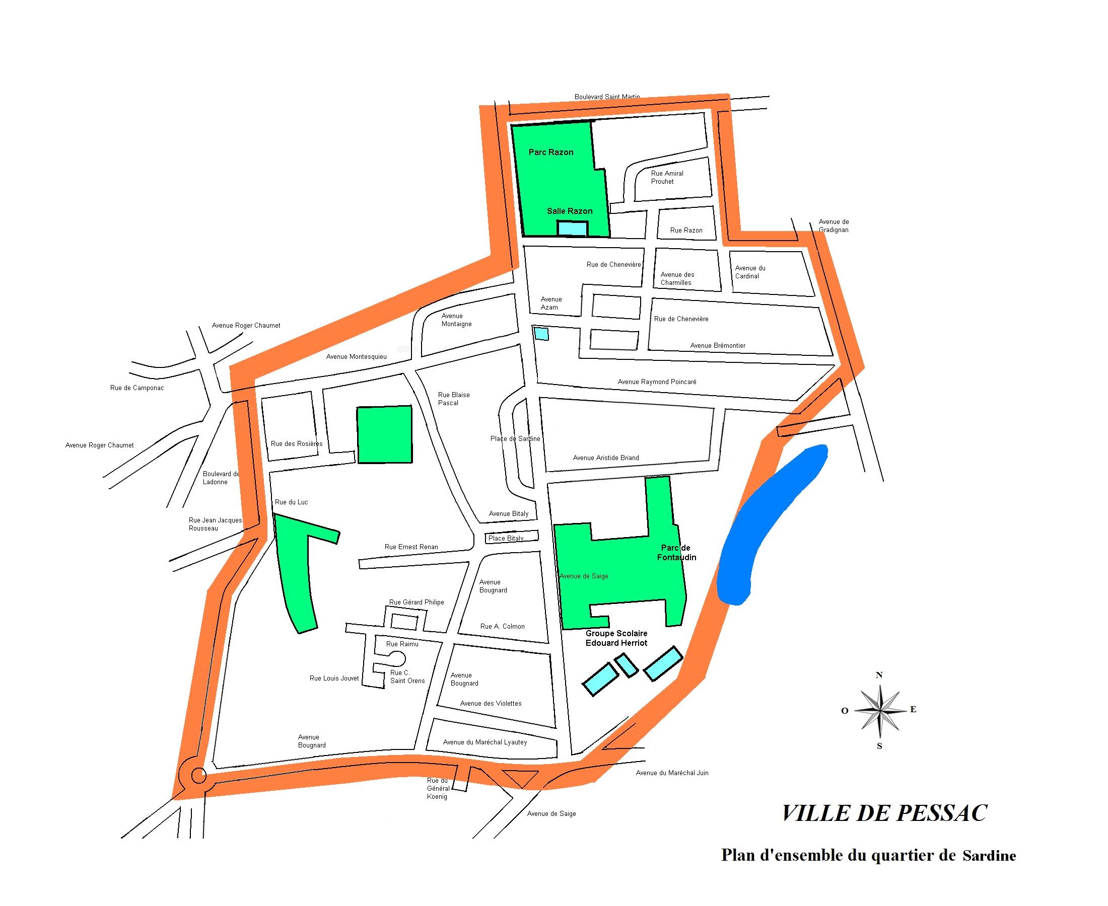 Plan du quartier Sardine à Pessac