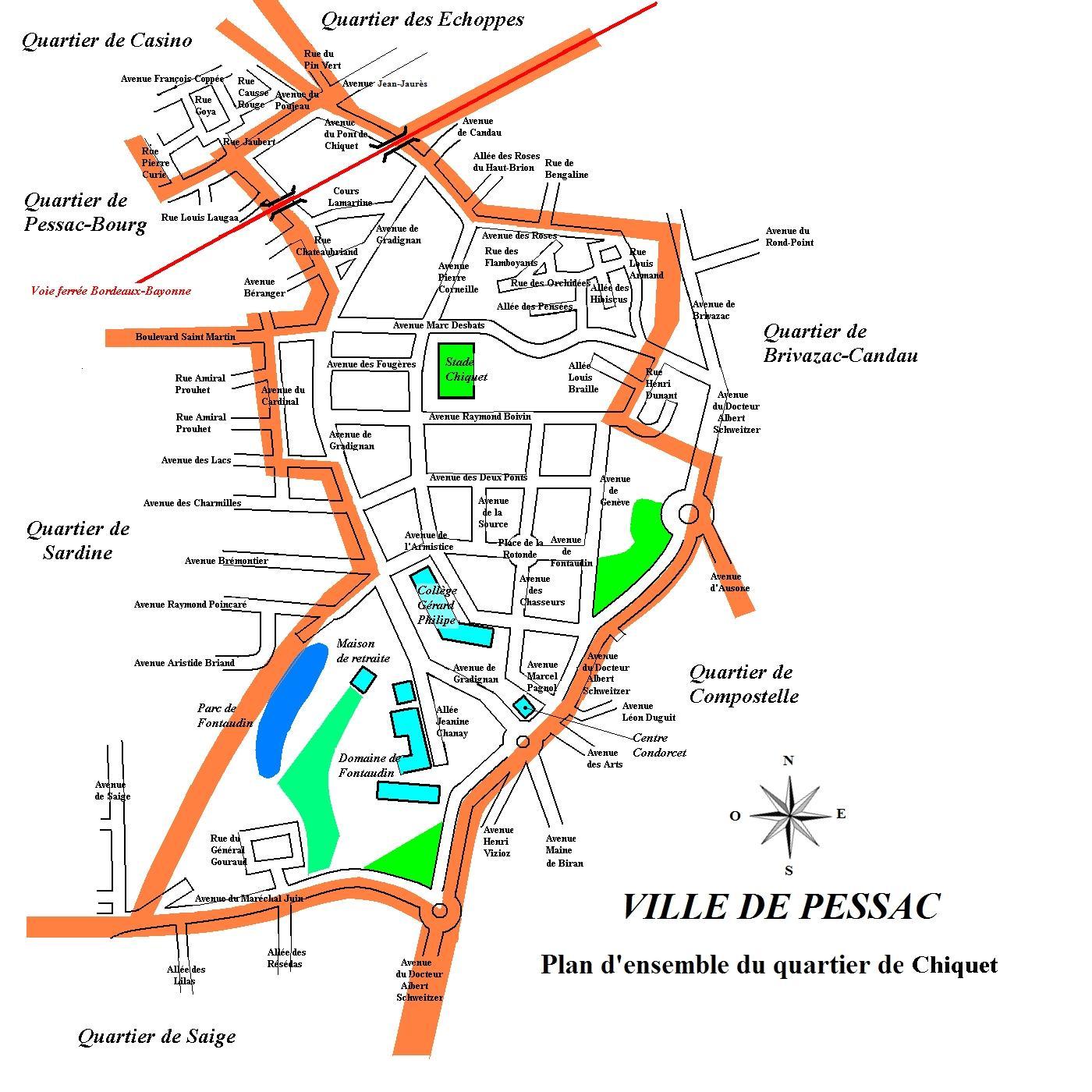 Plan du quartier Chiquet Pessac