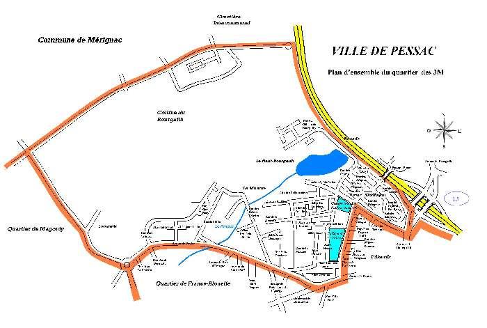 Plan du quartier 3M Pessac