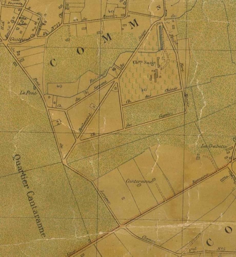 Saige en 1907 (Extrait de la carte de Longueville)