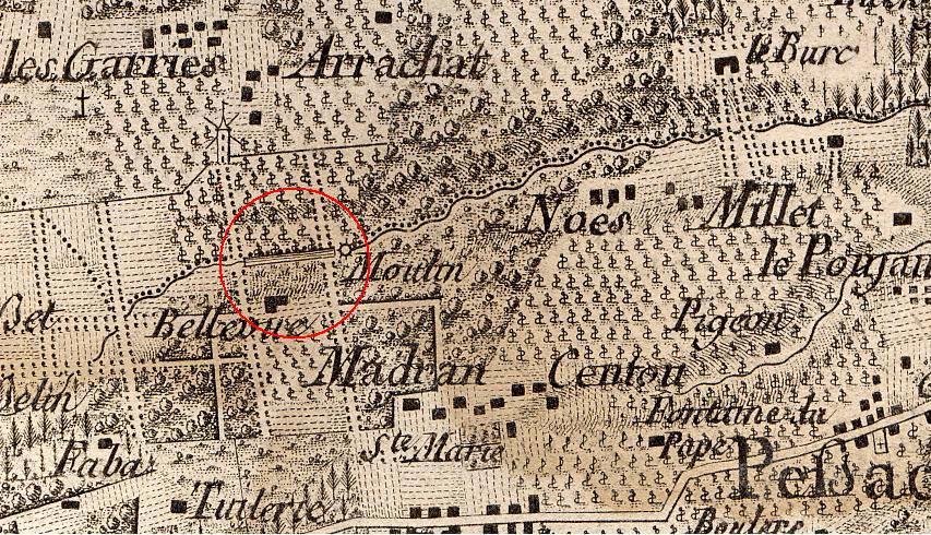Détail de la carte de Belleyme (fin 18e siècle)
