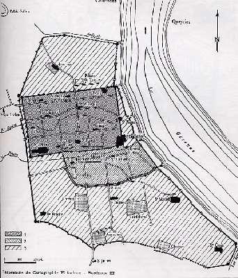 Cours du Peugue dans le Vieux Bordeaux (extrait de Higounet 1980)