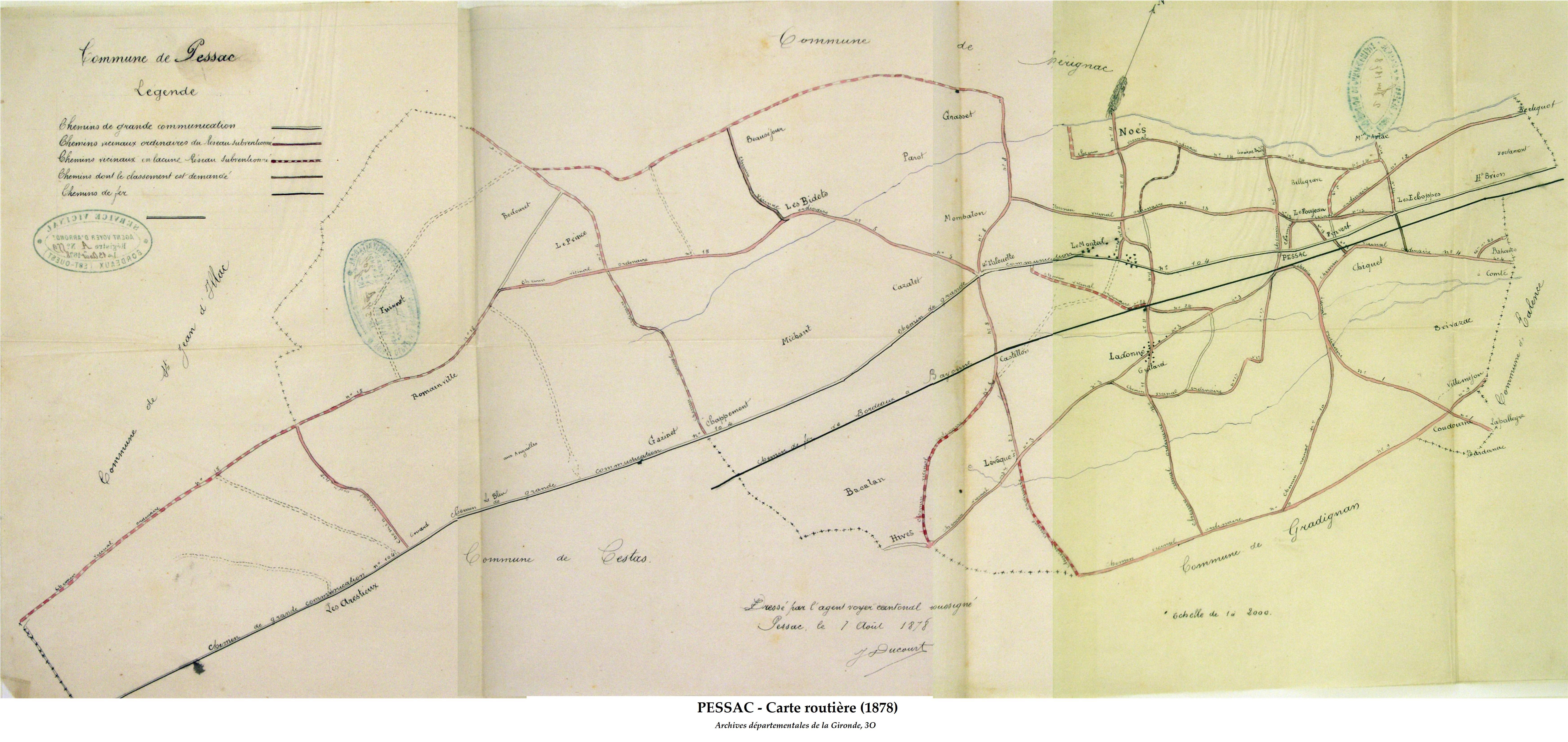 Carte routière de 1878