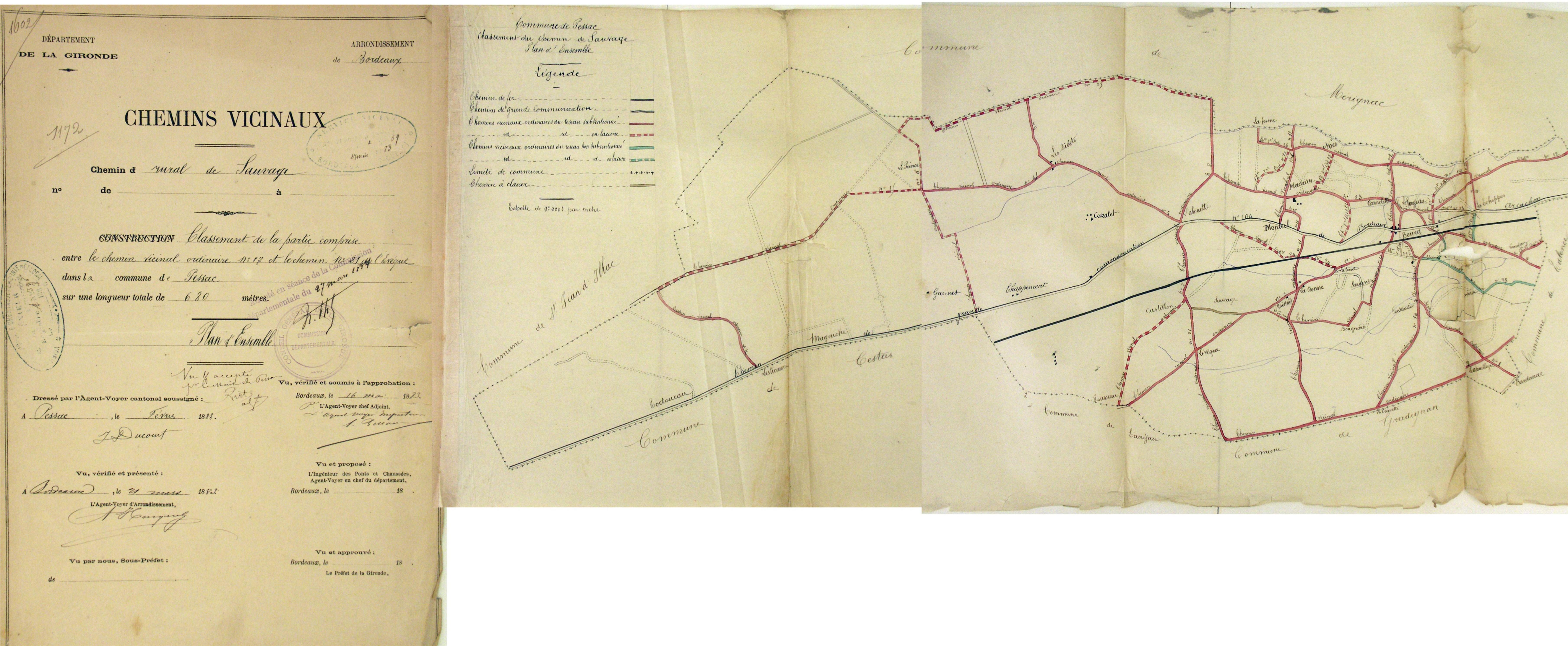 Carte routière de 1883