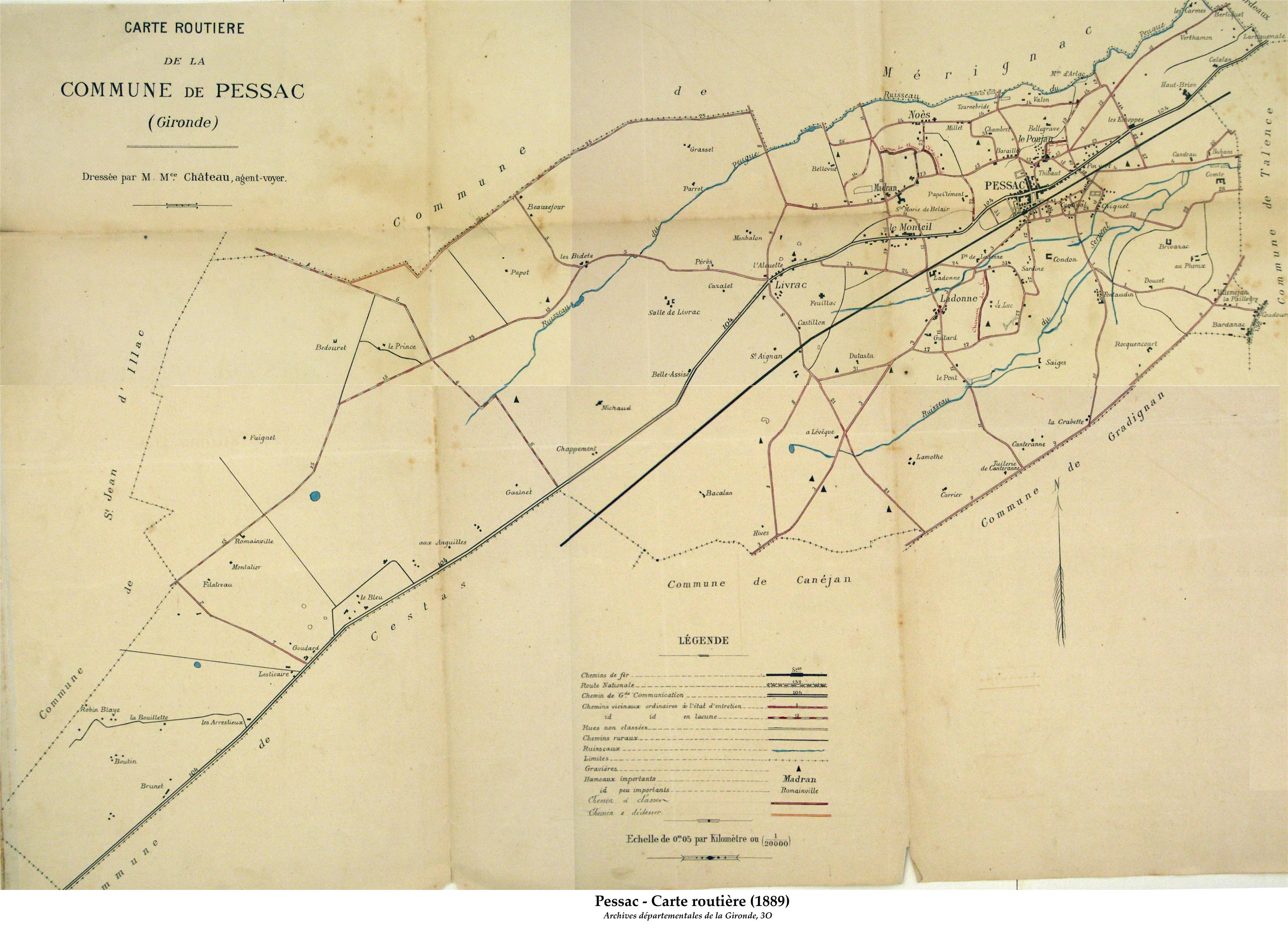 Carte routière de 1889