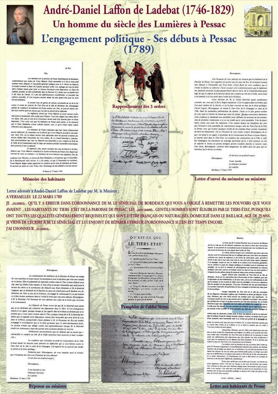 L'engagement politique - Ses débuts à Pessac (1789) : son élection au Tiers-État