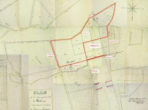 L'itinéraire de la balade tracé sur le plan du domaine daté de 1822